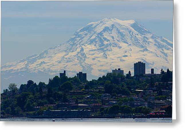 Commencement Bay Greeting Cards - Downtown Rainier Panaramic Greeting Card by Roger Reeves  and Terrie Heslop