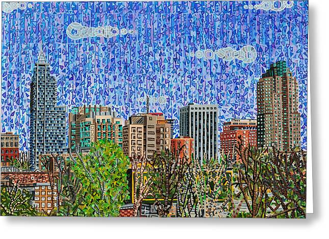 Height Paintings Greeting Cards - Downtown Raleigh - View from Boylan Street Bridge Greeting Card by Micah Mullen