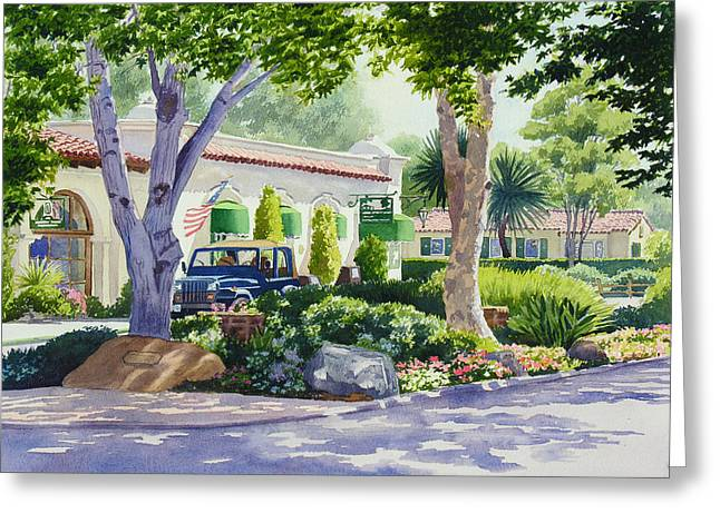 Colonial Architecture Greeting Cards - Downtown Rancho Santa Fe Greeting Card by Mary Helmreich