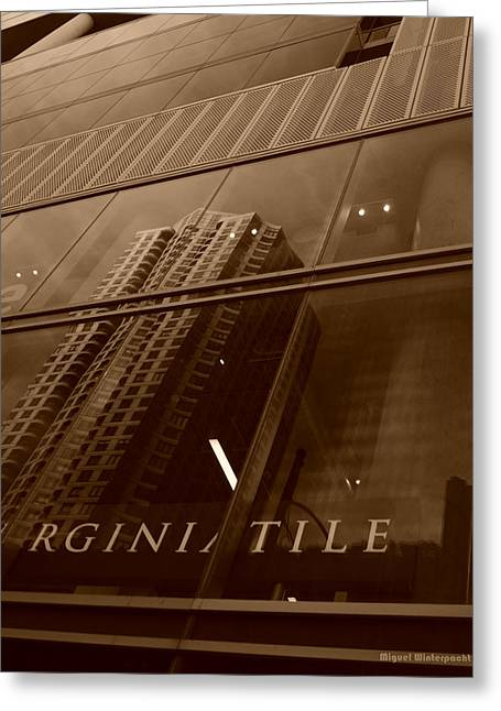Spiegel Greeting Cards - Downtown Reflections Greeting Card by Miguel Winterpacht