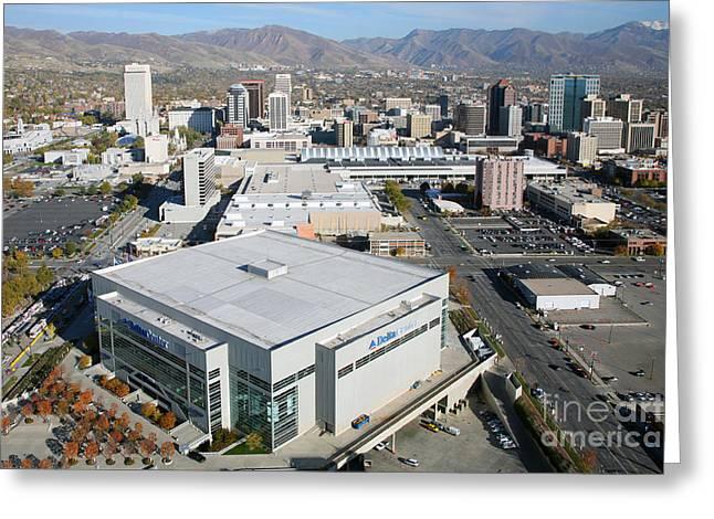 Utah Jazz Greeting Cards - Downtown Salt Lake City Greeting Card by Bill Cobb