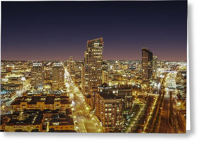 Twilight Pyrography Greeting Cards - Downtown San Diego Greeting Card by Alex Weinstein