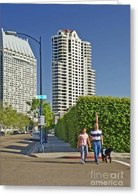 Dog Walking Greeting Cards - Downtown San Diego  Greeting Card by Claudia  Ellis