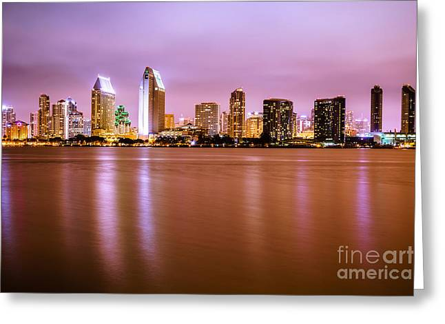 Dark Night Rises Greeting Cards - Downtown San Diego Skyline at Night Greeting Card by Paul Velgos