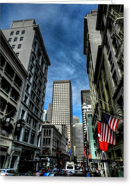 Downtown San Francisco Greeting Cards - Downtown San Francisco 001 Greeting Card by Lance Vaughn