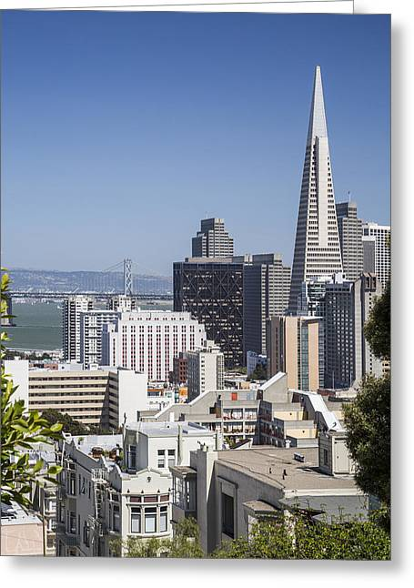 Bay Bridge Photographs Greeting Cards - Downtown San Francisco Greeting Card by Adam Romanowicz