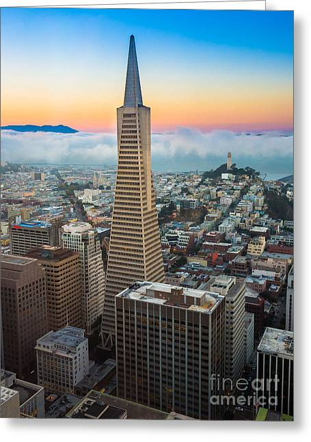 Foggy Landscape Greeting Cards - San Francisco Fog Greeting Card by Inge Johnsson