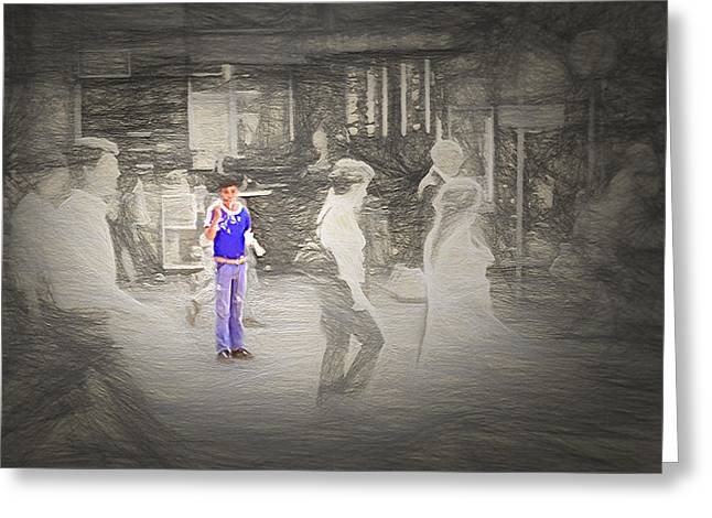 Toy Store Mixed Media Greeting Cards - Downtown Sao Paulo Brazil - 1982 - Bubble Boy Greeting Card by Steve Ohlsen