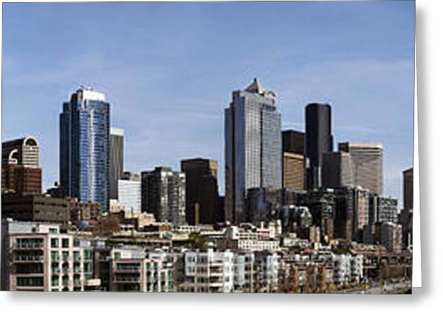 Downtown Seattle And Mount Rainier Greeting Card by Michael DeMello