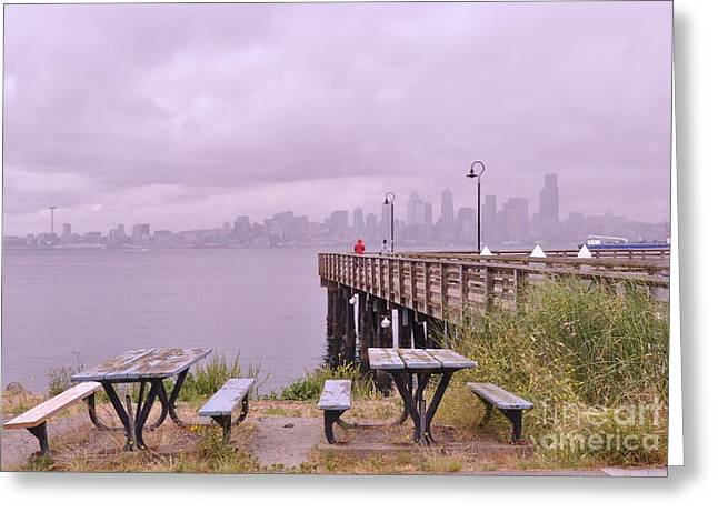 Owner Greeting Cards - Downtown Seattle as seen from Alki Beach Greeting Card by Allen Beatty
