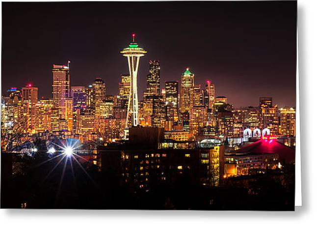 Winter Night Greeting Cards - Downtown Seattle at Night Greeting Card by Rich Leighton