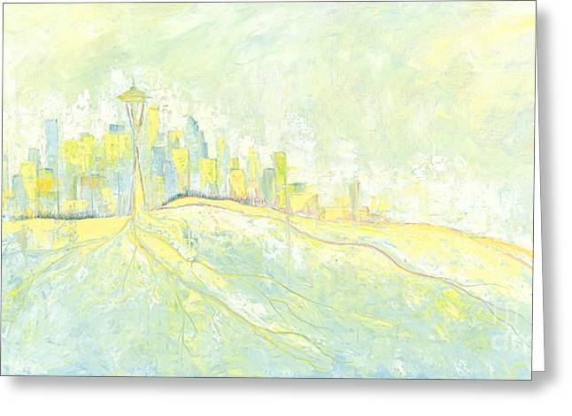 Downtown Seattle Greeting Cards - Downtown Seattle Greeting Card by Priscilla  Jo