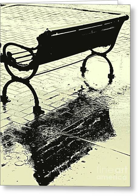 Puddle Iron Greeting Cards - Downtown Shower Greeting Card by Joe Jake Pratt