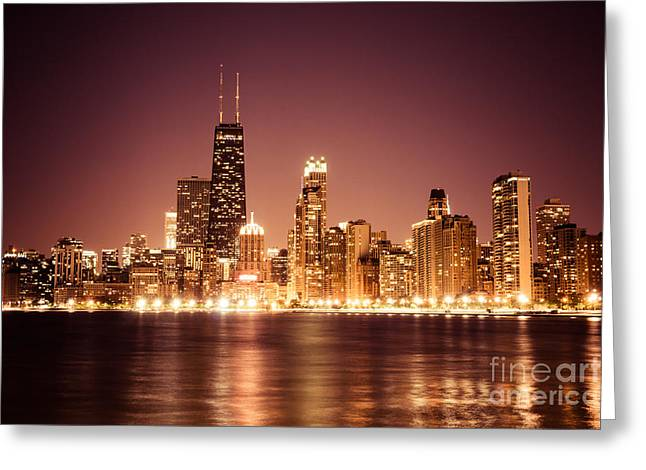 Rose Tower Greeting Cards - Downtown Skyline at Night of Chicago Greeting Card by Paul Velgos