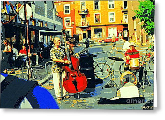 Rue Prince Arthur Greeting Cards - Downtown Street Musicians Perform At The Coffee Shop With Cool Tones On A Hot Summer Day Greeting Card by Carole Spandau