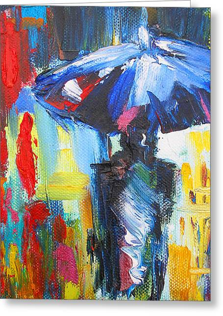 """""""storm Prints"""" Paintings Greeting Cards - Downtown Stroll Greeting Card by Susi Franco"""