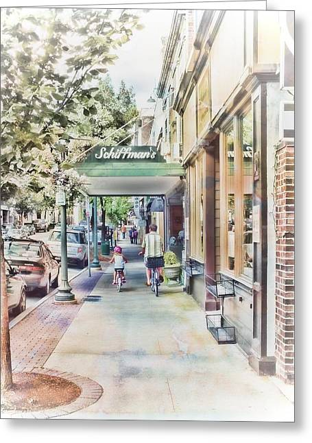 Elm St Greeting Cards - Downtown Sunday Greeting Card by Melissa Bittinger