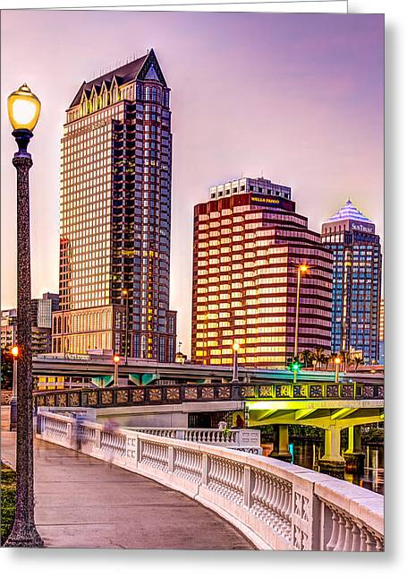 Hillsborough River Greeting Cards - Downtown Tampa at Platt street Greeting Card by Marvin Spates