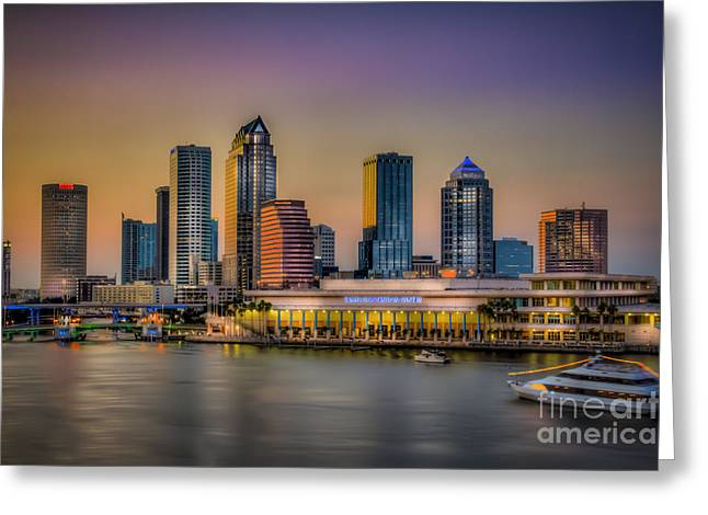 Boats At Dock Greeting Cards - Downtown Tampa Greeting Card by Marvin Spates