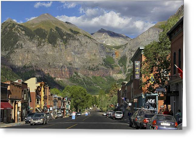 Mountainous Greeting Cards - Downtown Telluride Colorado Greeting Card by Mike McGlothlen