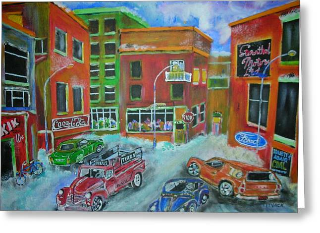Downtown  Traffic Greeting Card by Michael Litvack