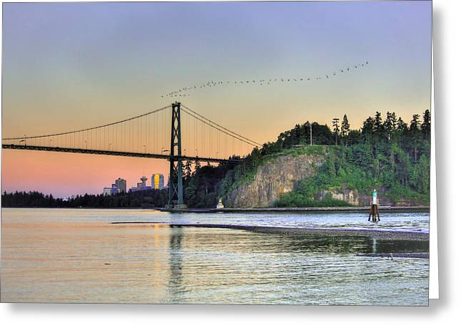 North Vancouver Digital Greeting Cards - Downtown Vancouver and Lions gate bridge at twilight Greeting Card by Eti Reid