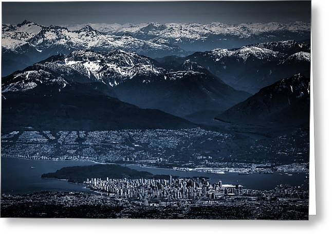 North Vancouver Digital Greeting Cards - Downtown Vancouver and the mountains aerial view low key Greeting Card by Eti Reid