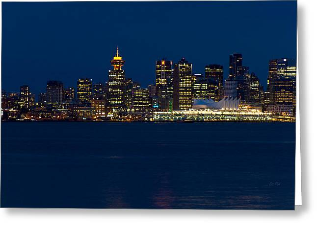 North Vancouver Digital Greeting Cards - Downtown Vancouver at night  Greeting Card by Eti Reid