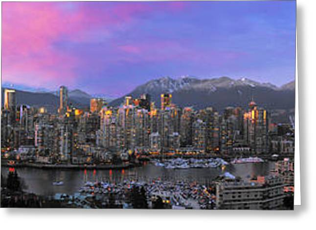 Most Greeting Cards - Downtown Vancouver Panorama Greeting Card by Wesley Allen Shaw