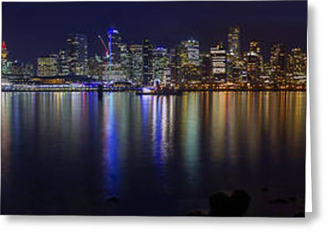 Marriot Greeting Cards - Downtown Vancouver Skyline by Night Greeting Card by Ross G Strachan
