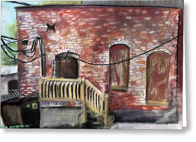 City Life Pastels Greeting Cards - Downtown Warrensburg Scene 2  Greeting Card by Billy Granneman