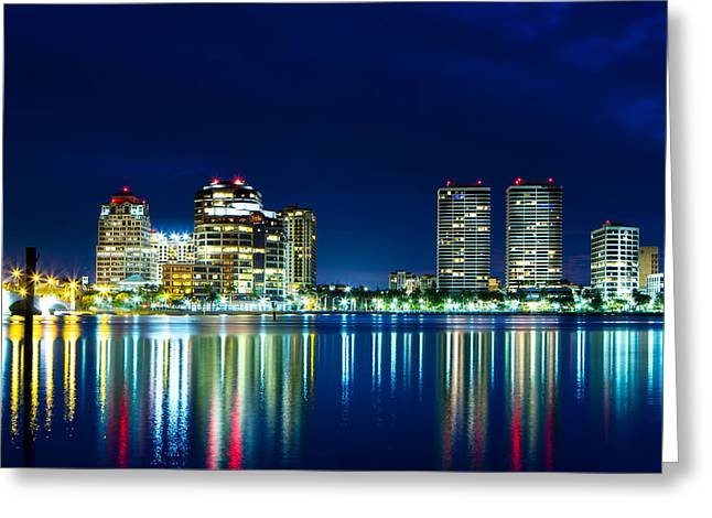 Beach At Night Greeting Cards - Downtown West Palm Beach  Greeting Card by Mark Andrew Thomas