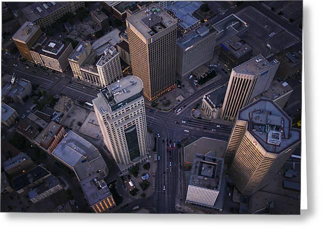 Manitoba Greeting Cards - Downtown Winnipeg Greeting Card by Bryan Scott