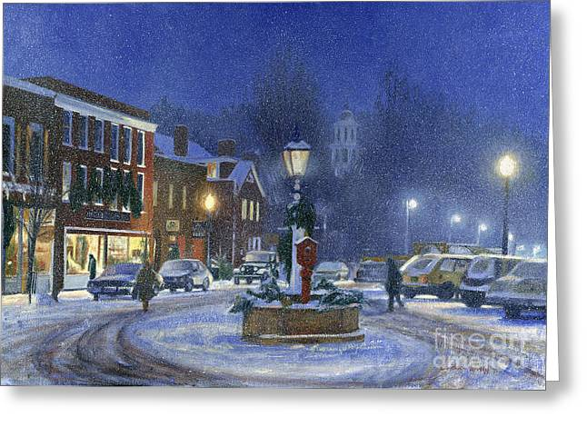 New England Village Paintings Greeting Cards - Downtown Woodstock Greeting Card by Candace Lovely