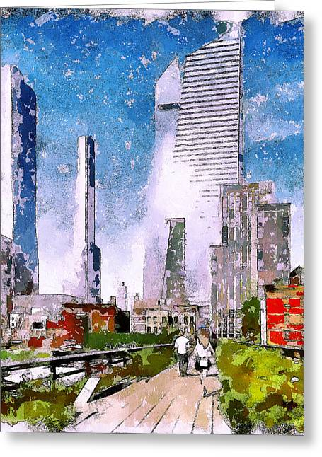 Live Art Greeting Cards - Downtown Greeting Card by Yury Malkov