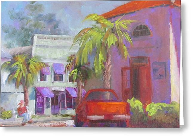 Purple Awnings Greeting Cards - Downtown Books Four PM Greeting Card by Susan Richardson