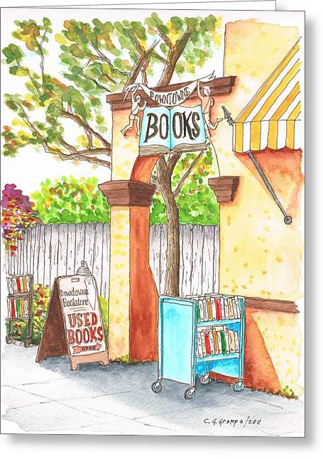 Acuarelas Greeting Cards - Downtowne Used Books in Riverside - California Greeting Card by Carlos G Groppa
