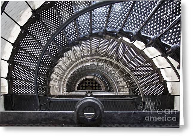 Spiral Staircase Photographs Greeting Cards - Downward Spiral Greeting Card by Douglas Stucky