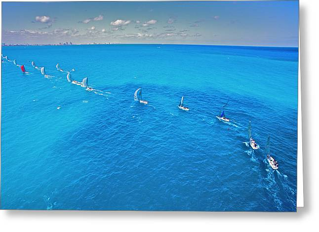 Downwind Heading Home Greeting Card by Steven Lapkin