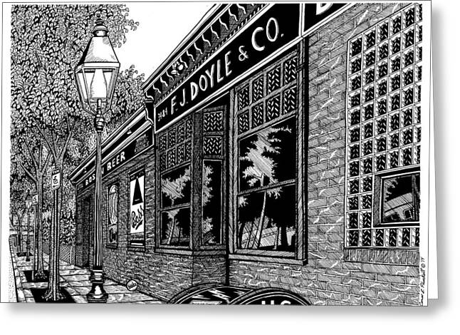 Conor Drawings Greeting Cards - Doyles Cafe Greeting Card by Conor Plunkett