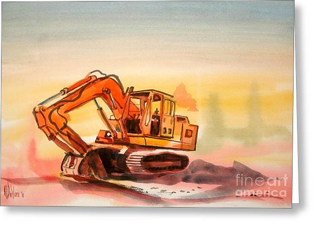 Dozer Greeting Cards - Dozer in Watercolor  Greeting Card by Kip DeVore