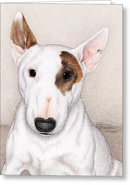 Terrier Dog Drawings Greeting Cards - Dozer Greeting Card by Katherine Plumer