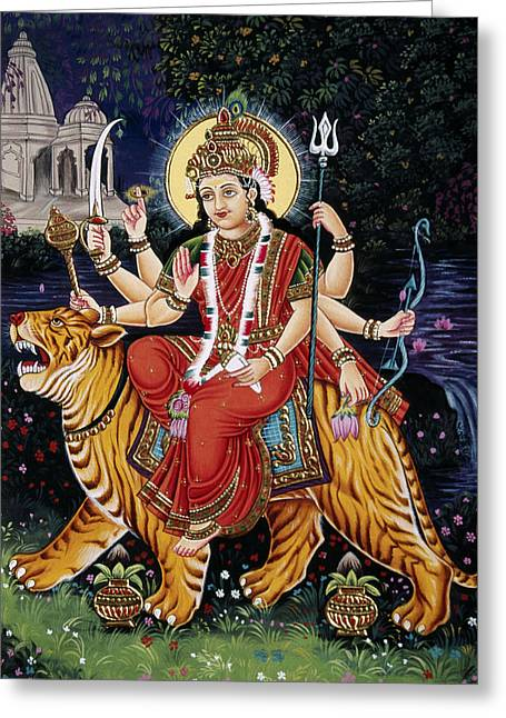 Hindu Goddess Greeting Cards - Goddess Durga riding tiger Greeting Card by Dpa-bdr-15