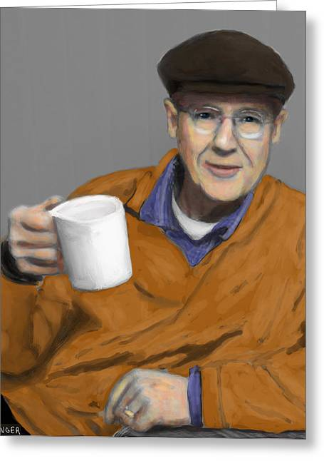 Coffee Drinking Digital Art Greeting Cards - Dr. C and his cup of Joe Greeting Card by Scott Bowlinger