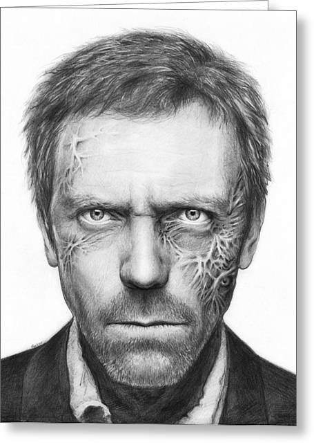 Celebrity Portrait Greeting Cards - Dr. Gregory House - House MD Greeting Card by Olga Shvartsur