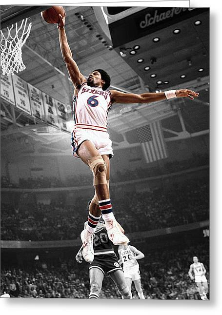 Michael Jordan Greeting Cards - Dr J Greeting Card by Brian Reaves