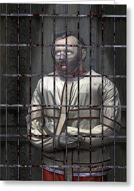 Confined Greeting Cards - Dr. Lecter Restrained Greeting Card by Daniel Hagerman