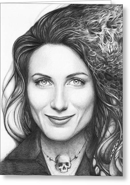 Graphite Drawing Greeting Cards - Dr. Lisa Cuddy - House MD Greeting Card by Olga Shvartsur