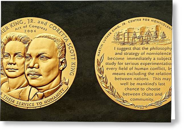 Civil Rights Greeting Cards - Dr Martin Luther King Jr and Coretta Scott King Bronze Medal Art Greeting Card by Movie Poster Prints