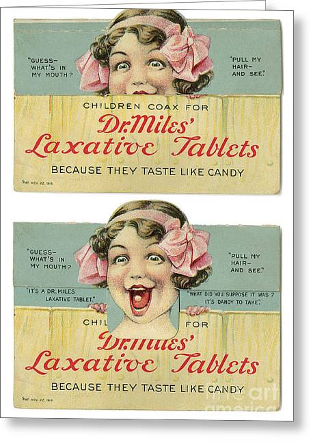 Dr Miles Laxative Tablets Greeting Card by Science Source